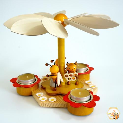 Topseller - Frühlings-/Bienenpyramide für 3 Teelichter
